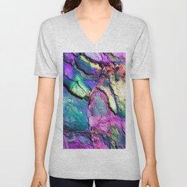 Textured Minerals Fuchsia Teal Purple Unisex V-Neck