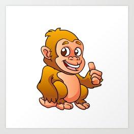 baby gorilla cartoon Art Print