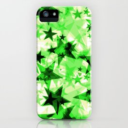 Metallic green glowing dark golden stars on a light background in the projection. iPhone Case