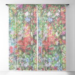 Colorful Flowers Sheer Curtain