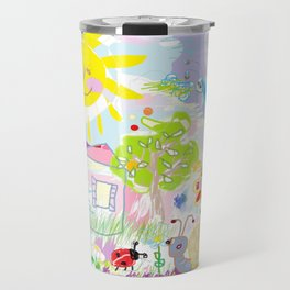My happy world Doodle for children room Nursery home decor Travel Mug