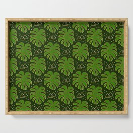 Gold Monstera Leaves in Green Serving Tray