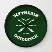 quidditch Wall Clocks featuring Slytherin Quidditch Team Seeker: Green by Sharayah Mitchell
