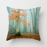 autumn Throw Pillows featuring Autumn Woods by Olivia Joy StClaire