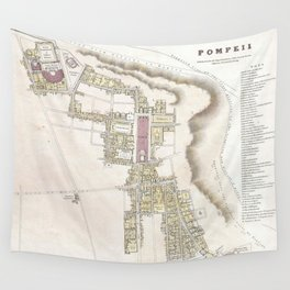 Vintage Map of Pompeii Italy (1832) Wall Tapestry