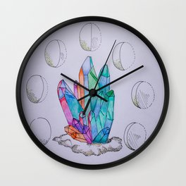 Moon Phases Crystals 1 Wall Clock