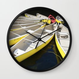 Tethered Yellow Canoes at Lost Lake in Whistler British Columbia Wall Clock