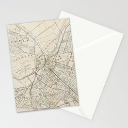 Vintage Map of Schenectady NY (1917) Stationery Cards