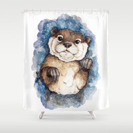 Watercolor Otter Shower Curtain