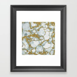 Painted Marble Texture with Gold Framed Art Print