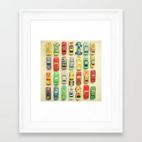 racing Framed Art Prints featuring Car Park by Cassia Beck