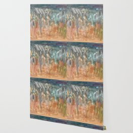 Peach to Pale Blue Abstract Painting Wallpaper