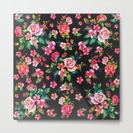 Boho Chic spring roses floral watercolor pattern Metal Print