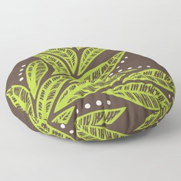 Floral tropical green leaves on brown background Floor Pillow
