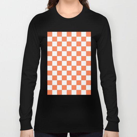 Checker (Coral/White) Long Sleeve T-shirt