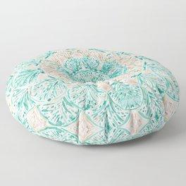 SO SHELLULAR Mint + Rose Gold Shell Mandala Floor Pillow