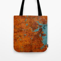 vintage map Tote Bags featuring Vintage map by Larsson Stevensem