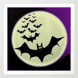 Bats and Moon Art Print