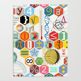 Math in color (white Background) Poster