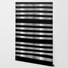 Black & Silver Metallic Stripes Wallpaper