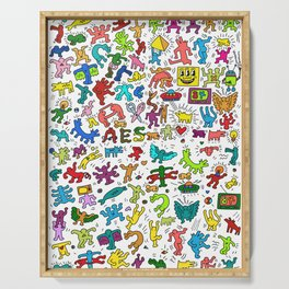 Doodles Homage to Keith Haring Color Serving Tray
