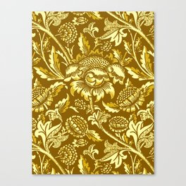 William Morris Sunflowers, Mustard and Golden Yellow Canvas Print