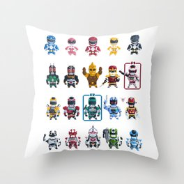 Nostalgic Retro gaming pixel tokusatsu sentai heroes. Throw Pillow