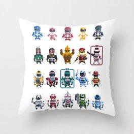 Nostalgic Retro gaming pixel tokusatsu sentai heroes. Throw Pillow