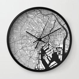 Tokyo Map Gray Wall Clock