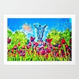 Sacred Heart Statue Art Print