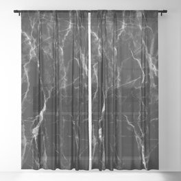 Black marble texture Sheer Curtain