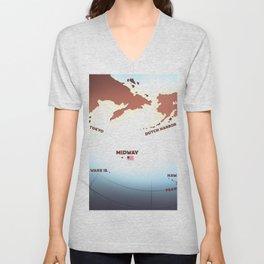Midway island WW2 map Unisex V-Neck