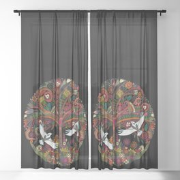 tree of life black Sheer Curtain
