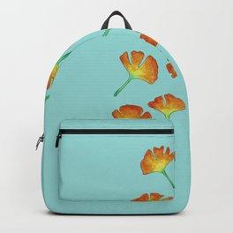 Gingko Leaves on Teal Backpack