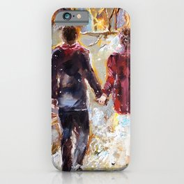 Married couple cozy oil painting, wedding picture, wedding in winter painting iPhone Case
