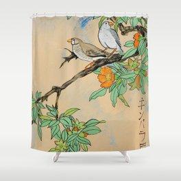 Amadina on the branch Japan Hieroglyph original artwork in japanese style J108 painting by Ksavera Shower Curtain