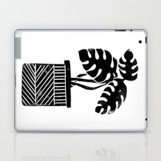 Linocut cheese plant monstera tropical leaf lino print black and white illustration art home dorm  Laptop & iPad Skin