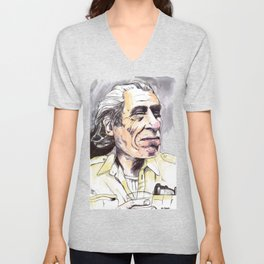 Charles Bukowski portrait in watercolor and ballpoint by McHank Unisex V-Neck