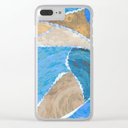 blue smeared patchwork Clear iPhone Case