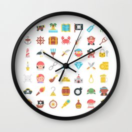 CUTE PIRATES PATTERN (PIRATE SHIP CHARACTERS) Wall Clock