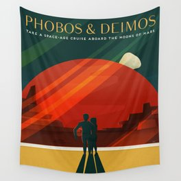 Vintage Adventure Travel Phobos and Deimos Wall Tapestry