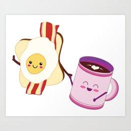 BFF Fun Eggs & Coffee with Bacon & Toast Art Print
