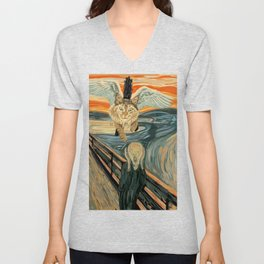 Funny Maine Coon Cat The Scream Flying Maine Coon Kitty Unisex V-Neck