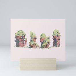 moss roofed houses Mini Art Print