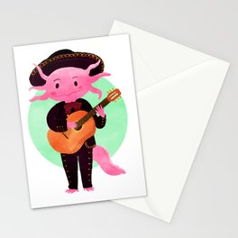 Axolotl with mariachi costume playing the guitar, Digital Art illustration Stationery Cards