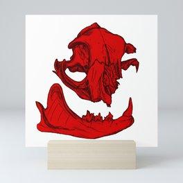 Cat Skull 2 (bright red) Mini Art Print