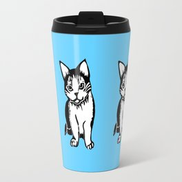 Black and White Cat Art Travel Mug