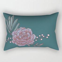 Simple Teal Succulents Rectangular Pillow
