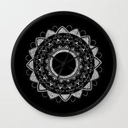 Precious white mandala on black Wall Clock