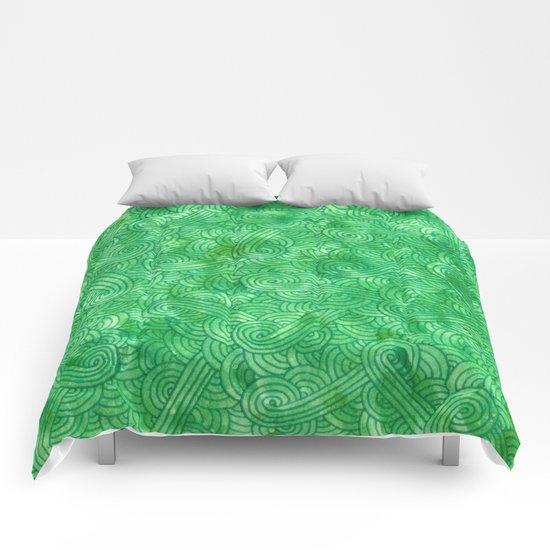 Bright green swirls doodles Comforters